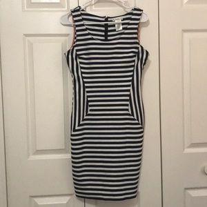 Esley Navy White and Orange Cotton Dress